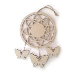 Attrape-rêves papillons en bois 12,5 x 21,5 x 2 cm