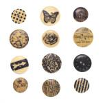 Boutons en bois Vintage 12 pcs