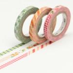 Masking tape fins à motifs rouge et vert lot de 3