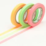Masking tape uni fins vert-rose-orange lot de 3