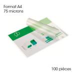 Pochette de plastification A4 75 microns Brillante 100 pcs